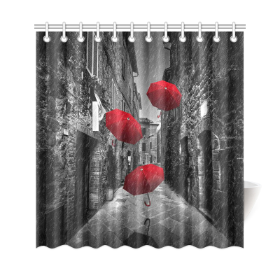 InterestPrint Red Umbrellas Flying with Wind and Rain on Dark Narrow Street Home Decor Polyester Fabric Shower Curtain Bathroom Sets with Hooks