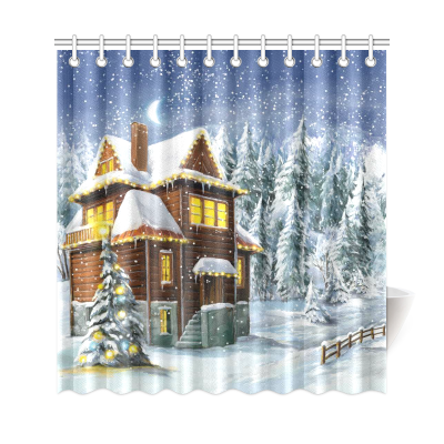 InterestPrint Christmas Night Happy Scene Home Decor, Winter Snow Warm Family House Polyester Fabric Shower Curtain Bathroom Sets with Hooks