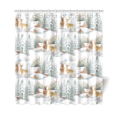 InterestPrint Watercolor Winter Snow Home Decor, Reindeers Polyester Fabric Shower Curtain Bathroom Sets with Hooks