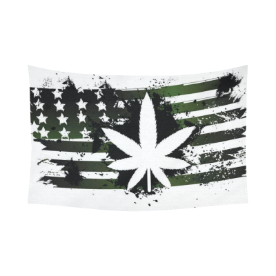 InterestPrint American Flag Leaf Marijuana Legalization Tapestry Horizontal Wall Hanging Green Stars Stripes Wall Decor Art for Living Room Bedroom Dorm Cotton Linen Decoration