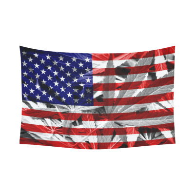 InterestPrint USA Flag Marijuana Legalization Tapestry Horizontal Wall Hanging Cannabis Leaf Wall Decor Art for Living Room Bedroom Dorm Cotton Linen Decoration