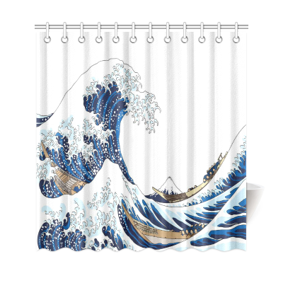 InterestPrint the Great Waves of Kanagawa Home Decor, Japanese Ocean Polyester Fabric Shower Curtain Bathroom Sets with Hooks