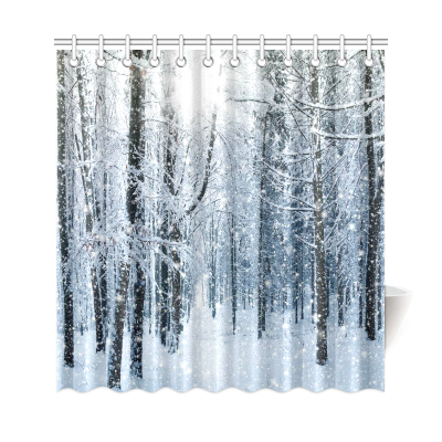 InterestPrint Snowy Trees Forest Mountain Home Decor, Winter Landscape Polyester Fabric Shower Curtain Bathroom Sets with Hooks