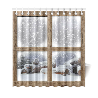 InterestPrint Winter Outdoors View Home Decor, Snowflake Scene Firewood Polyester Fabric Shower Curtain Bathroom Sets with Hooks