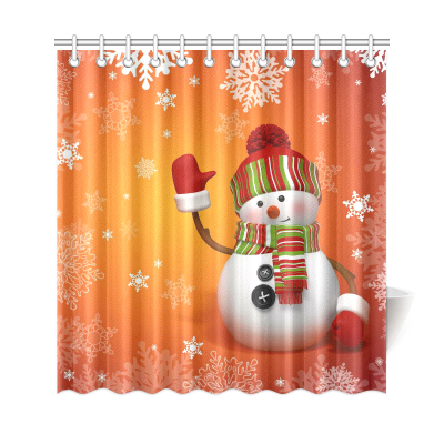 InterestPrint Chrismas Snowflake Home Decor, Winter Snowman Polyester Fabric Shower Curtain Bathroom Sets with Hooks