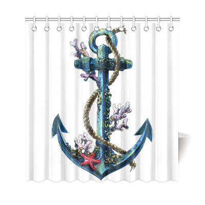 InterestPrint Vintage Sea Anchor Custom Shower Curtain Waterproof Polyester Fabric Bathroom Sets Home Decor