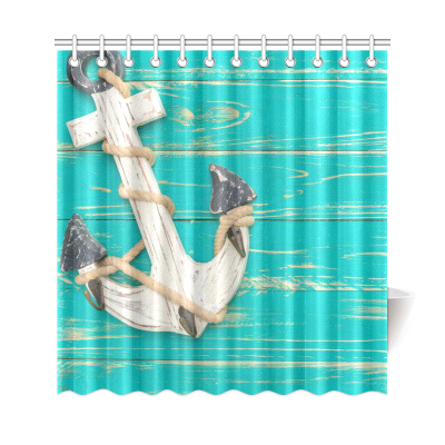 InterestPrint Anchor on Vintage Wooden Custom Shower Curtain Waterproof Polyester Fabric Bathroom Sets Home Decor