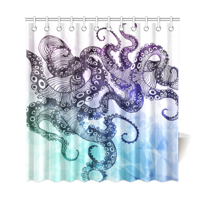 InterestPrint Hipster Octopus Custom Shower Curtain Waterproof Polyester Fabric Bathroom Sets Home Decor