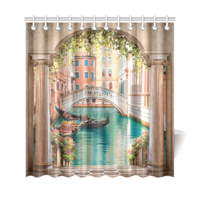 InterestPrint Street in Venice Custom Shower Curtain Waterproof Polyester Fabric Bathroom Sets Home Decor