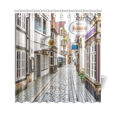InterestPrint Colorful Houses Custom Shower Curtain Waterproof Polyester Fabric Bathroom Sets Home Decor