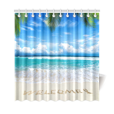 InterestPrint Welcome Tropical Beach Custom Shower Curtain Polyester Fabric Bathroom Sets Home Decor