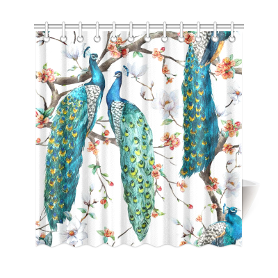 InterestPrint Blooming Cherry Peacock Custom Shower Curtain Polyester Fabric Bathroom Sets Home Decor