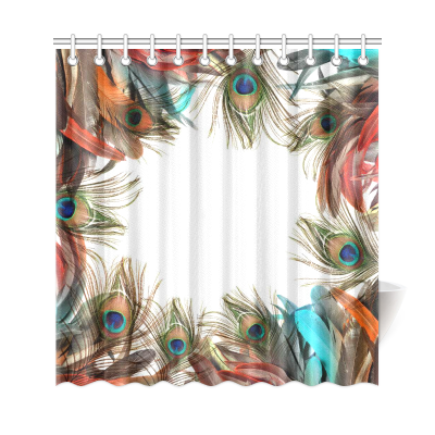 InterestPrint Peacock Feather Custom Shower Curtain Polyester Fabric Bathroom Sets Home Decor
