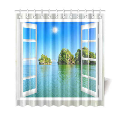 InterestPrint Window Ocean View Custom Shower Curtain Polyester Fabric Bathroom Sets Home Decor