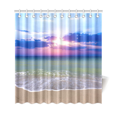 InterestPrint Sunset Sea Beach Custom Shower Curtain Polyester Fabric Bathroom Sets Home Decor