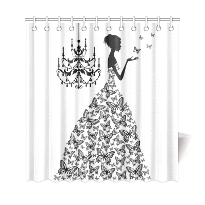 InterestPrint Floral Girl Butterflies Custom Shower Curtain Polyester Fabric Bathroom Sets Home Decor