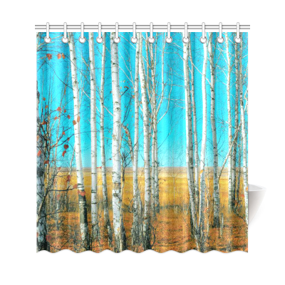 InterestPrint Birch Grove Custom Shower Curtain  Polyester Fabric Bathroom Sets Home Decor