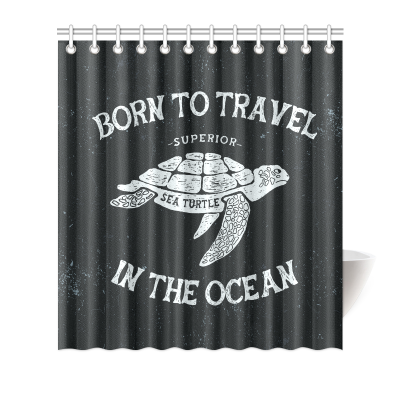 InterestPrint Home Bathroom Decor Funny Sea Turtle Art Shower Curtain Hooks Black and White Fabric Funny Sea Turtle Art Born to Travel in the Ocean