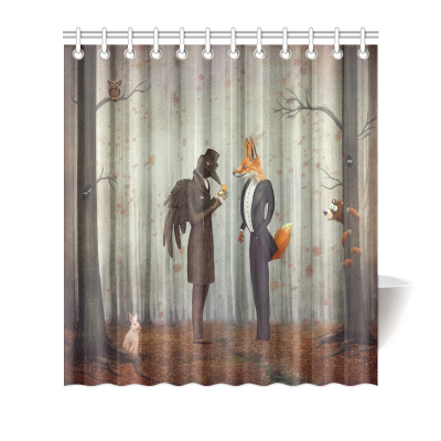 InterestPrint Home Bathroom Decor Forest Raven Fox Shower Curtain Hooks Fabric Fairy Tales Raven and Fox in A Dark Forest Looking at the Watch with Rabbit Owl Bear Autumn Art