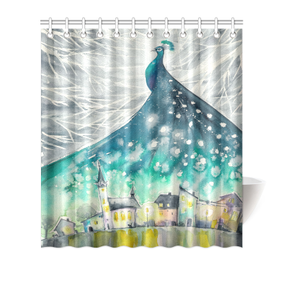 Interestprint Home Bathroom Decor Watercolor Peacock Feather Shower Curtain Hooks Green Turquoise Fabric Peacock in Christmas Winter Night Snow Sky Castles