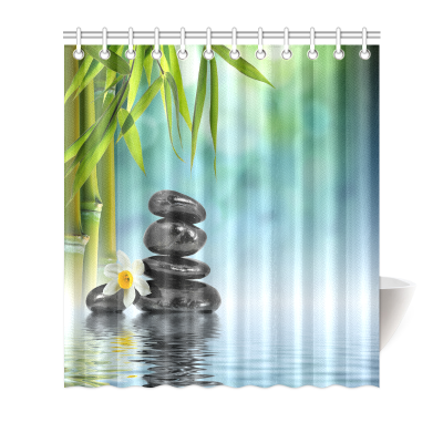 InterestPrint Home Bathroom Decor Chinese Pebble Stones Nature Scene Shower Curtain Hooks Green Fabric Chinese Zen Pebble Stones Underwater in Lake with Bamboo Leaves Narcissus Daffodil
