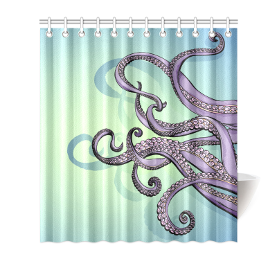 InterestPrint Home Bathroom Decor Colorful Art Funny Octopus Shower Curtain Hooks Blue Violet Purple Fabric Spreading Tentacles Octopus Art