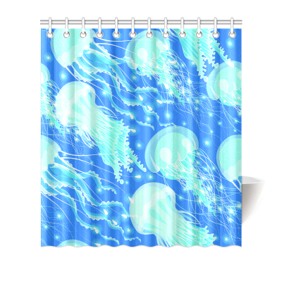 InterestPrint Home Bathroom Decor Beatiful Sea Jellyfishes Shower Curtain Hooks Fabric Glowing Jellyfishes in the Sea Ocean