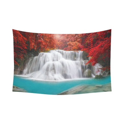 InterestPrint Beautiful Tree Wall Art Home Decor, Waterfall in Deep Rain Forest Cotton Linen Tapestry Wall Hanging Art Sets