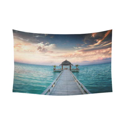InterestPrint Bule Ocean Waves Wall Art Home Decor, Idyllic Arbor on Water, Maldive Island Cotton Linen Tapestry Wall Hanging Art Sets
