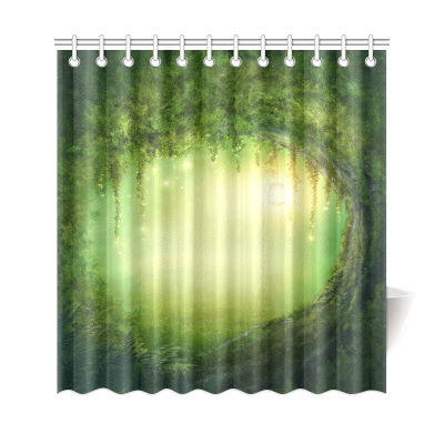 InterestPrint Fantasy Green Tree Home Decor,Light Moonlight Forest Polyester Fabric Shower Curtain Bathroom Sets
