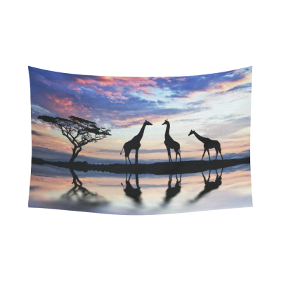 InterestPrint Beautiful Nature Landscape Sky Cloud Wall Art Home Decor, Giraffes Wild Animal Sunset Tree Shadows Cotton Linen Tapestry Wall Hanging Art Sets
