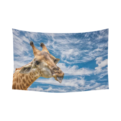 InterestPrint Beautiful Blue Sky Cloud Wall Art Home Decor, a Portrait Of a Funny Giraffe Cotton Linen Tapestry Wall Hanging Art Sets