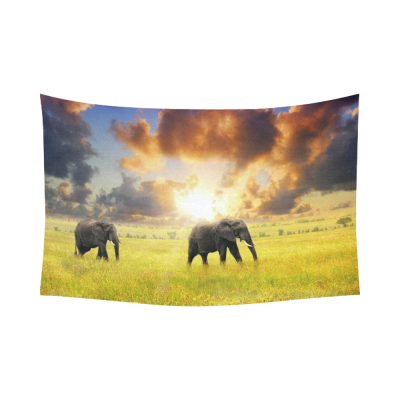InterestPrint Beautiful Landscape with Cloud Wall Art Home Decor, African Elephants at Sunset Cotton Linen Tapestry Wall Hanging Art Sets