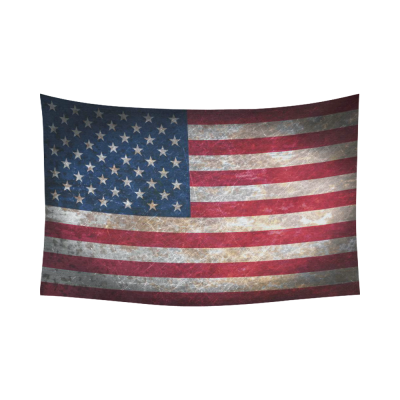 InterestPrint Vintage Retro Style US Flag Wall Art Home Decor, Stars and Stripes American Flag Bule Red Cotton Linen Tapestry Wall Hanging Art Sets