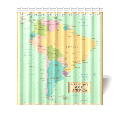 InterestPrint Home Bathroom Decor Vinatge World Map Shower Curtain Hooks Blue Colorful Fabric Antique Political Map of South America