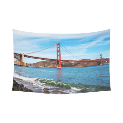 InterestPrint Ocean Seascape Wall Art Home Decor, Golden Gate Bridge in San Francisco, California, USA Cotton Linen Tapestry Wall Hanging Art Sets