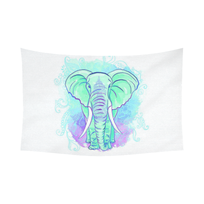 InterestPrint Indian Ethnic Wall Art Home Decor, Wild Elephant Watercolor Art Mint Green Cotton Linen Tapestry Wall Hanging Art Sets