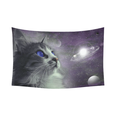 InterestPrint Planet Wall Art Home Decor, Cat in Outer Space Cotton Linen Tapestry Wall Hanging Art Sets