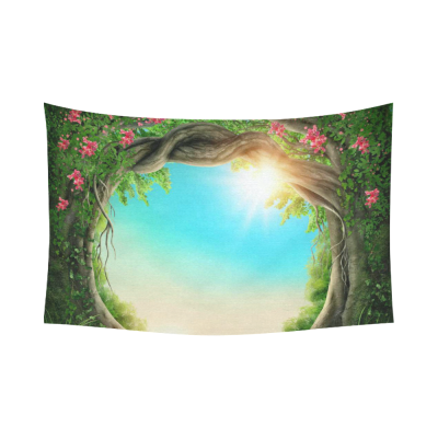 InterestPrint Natural Scenery Wall Art Home Decor, Mystic Fairy Tree of Life Enchanted Forest  Cotton Linen Tapestry Wall Hanging Art Sets