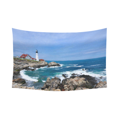 InterestPrint Seascape Wall Art Home Decor, Beautiful Scene with Lighthouse Ocean Waves Rocky Cotton Linen Tapestry Wall Hanging Art Sets