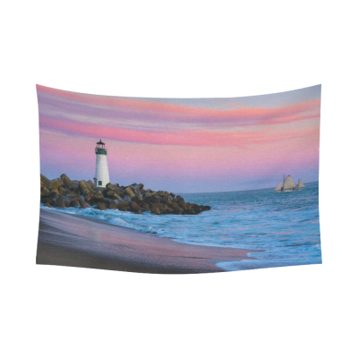 InterestPrint Seascape Nature Wall Art Home Decor, Santa Cruz Lighthouse Sunset on Beach Ocean Cotton Linen Tapestry Wall Hanging Art Sets