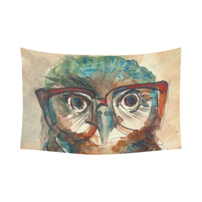 InterestPrint Bird Animal Wall Art Home Decor, Colorful Owl Art Night Owl Cotton Linen Tapestry Wall Hanging Art Sets