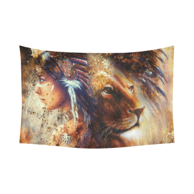InterestPrint Abstract Wall Art Home Decor, Indian Woman Wearing Feather Headdress with Lion Cotton Linen Tapestry Wall Hanging Art Sets