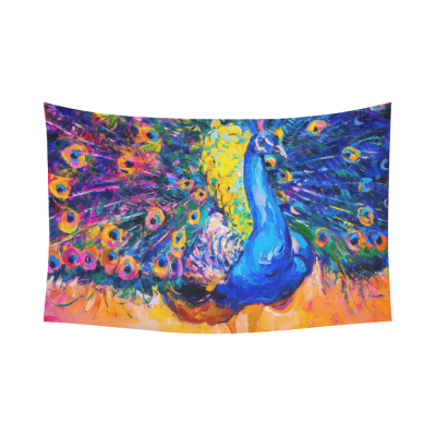 InterestPrint Oil Painting Wall Art Home Decor, Elegant Peacock Bird Colorful Cotton Linen Tapestry Wall Hanging Art Sets
