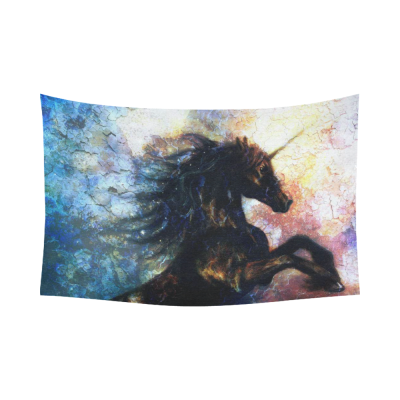 InterestPrint Oil Painting Wall Art Home Decor, Unicorn Abstract Art Cotton Linen Tapestry Wall Hanging Art Sets