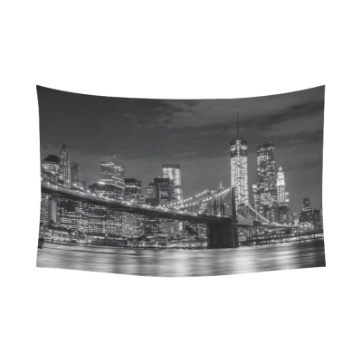 InterestPrint Cityscape Wall Art Home Decor, Brooklyn Bridge and New York Skyline at Night,Black and White Cotton Linen Tapestry Wall Hanging Art Sets