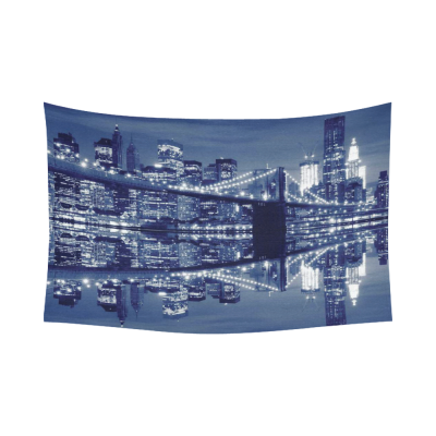 InterestPrint Cityscape Wall Art Home Decor, Brooklyn Bridge and Manhattan New York Skyline At Night, New York City NYC Cotton Linen Tapestry Wall Hanging Art Sets
