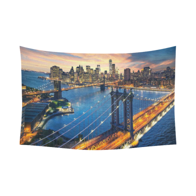 InterestPrint Beautiful Sunset Wall Art Home Decor, New York City Manhattan Brooklyn Bridge  Cotton Linen Tapestry Wall Hanging Art Sets