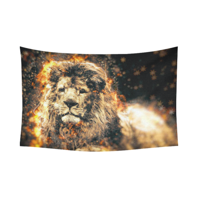 InterestPrint Animal Abstract Art Wall Art Home Decor, African Fire Lion Cotton Linen Tapestry Wall Hanging Art Sets