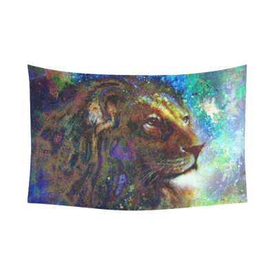 InterestPrint Animal Abstract Art Wall Art Home Decor, Lion Face Portrait Cotton Linen Tapestry Wall Hanging Art Sets